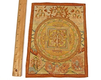 Vintage Thangka Tibetan Wall Hanging Hand Painted Deity on Fabric Fantastic Fine Details