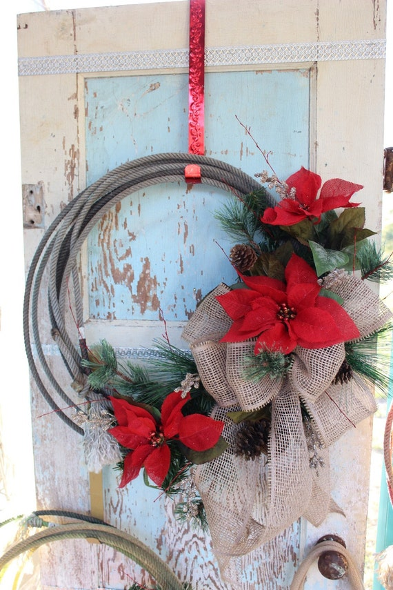 Rustic Rope Christmas Wreath With Burlap Bow And Poinsettias