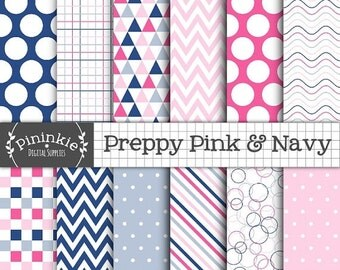 50% OFF SALE Preppy Digital Paper Pack, Pink and Navy Digital Scrapbook Paper, Triangle Pattern, Instant Download, Commercial Use, Pastel Pi