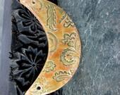 Autumn Brown Ceramic Crescent Bib Pendant