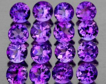 Rich Purple Amethyst Faceted Rounds 2.0 MM Natural Gemstones,  Priced Each Lot Of 10 Stones, Calibrated