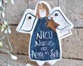 NICU Nurse Gift Thank You Salt Dough Angel Ornament