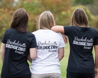 Bachelorette tshirt. Bachelorette drinking team with dress monogram. Personalized bridesmaids bachelorette shirts. Bridesmaid gift idea. Fun
