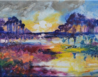 "Original Large Abstract Landscape Oil Painting- ""Marsh Abstraction""- by Claire McElveen"