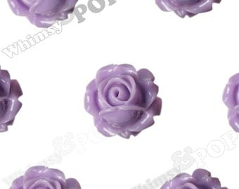 Vintage Deco Light Purple Rose Bud Resin Cabochons, Flower Cabochons, Flower Cabs, Rose Cabochons, Flatbacks, Glue On Flowers, 15mm (R1-096)