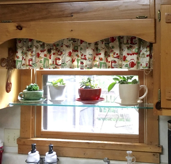 Valance Cotton 40 x 24  Retro Kitchen Stove Print Window Treatment Valance lined or unlined