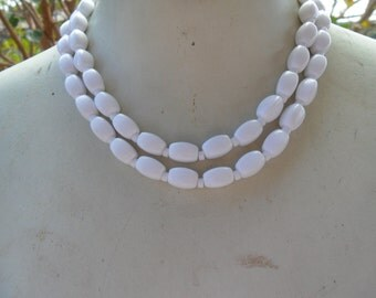 Authentic Vintage SIGNED NAPIER Two Strand Row White Bead Necklace Bride WEDDING Prom Bridesmaid