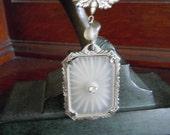 Vintage Camphor Glass Crystal Necklace Victorian Style Antique Necklace Art Deco Art Nouveau Era