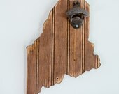 Wooden Maine State Bottle Opener, Distressed Bead Board State, English Chestnut