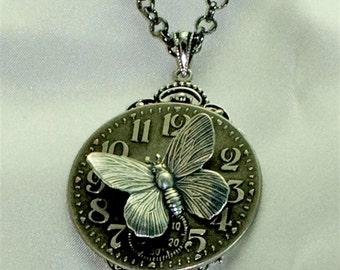 Vintage Victorian Steampunk Filigree Clockface Butterfly Focal Pendant Necklace
