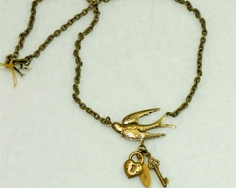 Vintage Victorian Steampunk Filigree Swooping Swallow with Charms Key Lock Pendant Necklace