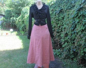 Linen Skirt / Skirt Vintage / Long Skirt / A line Skirt / Brown Rose / Long Linen Skirt / Size EUR 40 / 42 / UK12 / 14