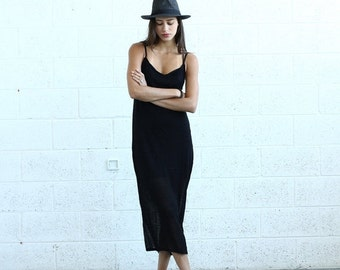 Summer Sale Knitted Tank Dress , Black