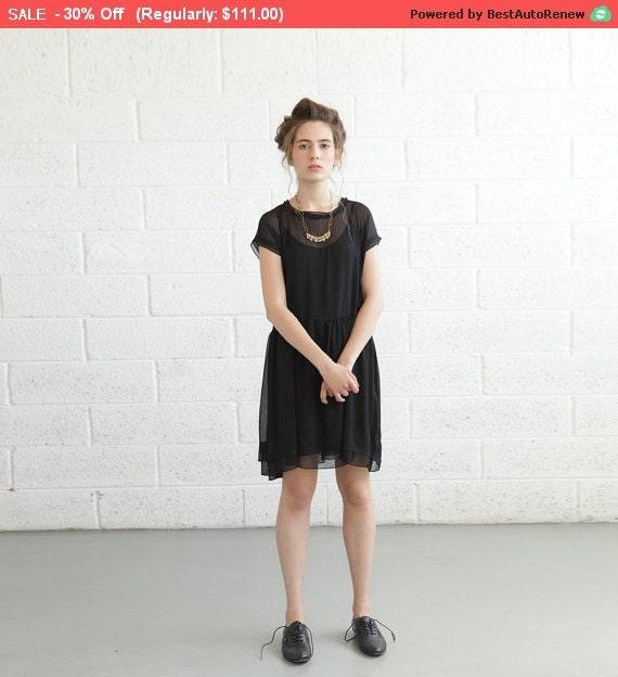 Final SALE ***** Sheer Cocktail Dress - Black