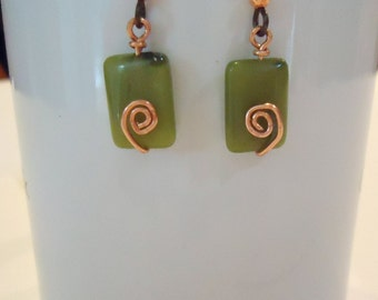 New Jade and Copper Earrings