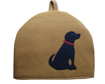 Black Labrador Small teapot tea cosy in mustard yellow