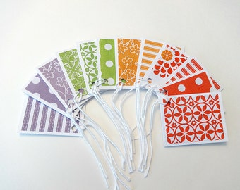 Gift Tags, Gift Tag Set, Assorted Gift Tags, Paper Tags, Folded Gift Tags, Blank Gift Tags, Set of 12 Folded Gift Tags, Multicolor Tags