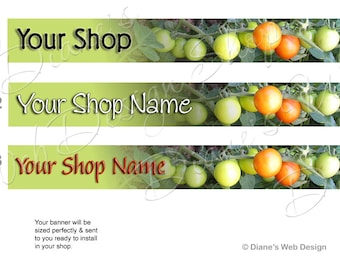 Tomato Banner Farm Photo - You pick 1 of 3 Designs - Customized with Your Shop Name