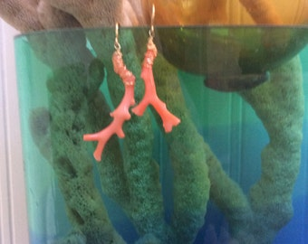 Coral Wired Wrapped Dangle Earrings