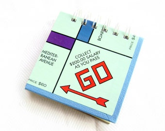 Monopoly recycled game board journal mini book
