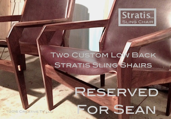 Reserved for Sean, (TWO) Stratis Sling Chair™- Low Back Chocolate Brown leather Club Chair,  Handmade Original Design, Mid Century