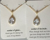 Gold mother of the bride OR mother of the groom necklace, wedding jewelry