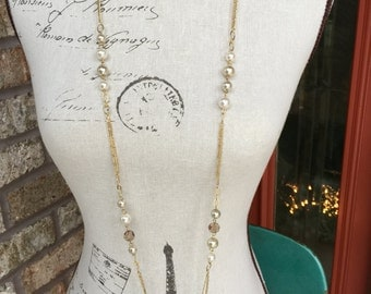 clearanced Long necklace in pearls and crystals with gold chain, chunky Pearl necklace