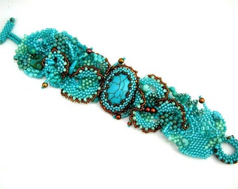 Turquoise cuff bracelet, Turquoise jewelry, Turquoise Beaded bracelet for women, Statement bracelet Freeform peyote Turquoise lovers