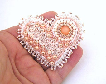 Heart brooch, Beaded pin, Bead embroidered brooch, Beaded brooch, Gifting ideas