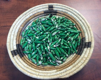 430 Green Mix of African Hand Rolled Paper Beads, Fair Trade Beads, Wholesale Beads, Recycled Beads, Upcycled Beads, Handmade Beads, Nyaka