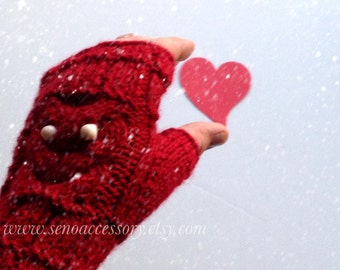 Gift For Christmas Knit Fingerless Gloves Owl Gloves Women Gloves Winter Accessories Knit Gloves Mittens gifts for her / valentine fashion