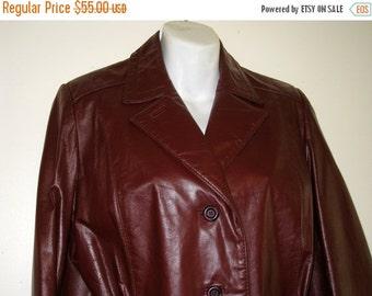 Etienne Aigner 1970s Burgundy Leather Jacket / Sz. 12 - Excellent