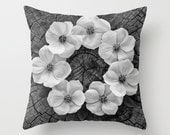 Dogwood Flower Circle Pillow Cover - Cabin Home Decor - Wood Grain - Tree Wall Art - Made to Order -