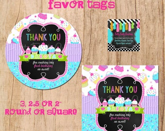 CHALKBOARD CUPCAKE favor tags- You Print