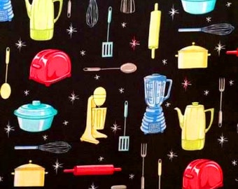 1FQ Retro Vintage Fifties 50's KITCHEN APPLIANCES Egg Beater Coffee Pot Aprons Quilting Sewing Fabric