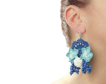 Earrings-Blue Crystal Crochet Beaded Floral Rose Statement Dangle Earrings, Crochet Earrings, Bohemian Jewelry, Unique Textile Jewelry