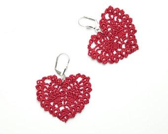 Earrings-Red Heart Earrings, Crochet Earrings, Dangle  Earrings, Valentine, Love Jewelry, Gifts for Girlfriend, Delicate Earrings