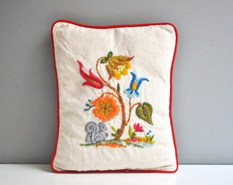 Vintage Crewel Embroidered Jacobean Pillow