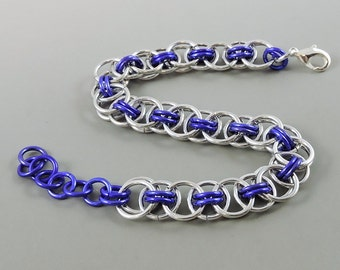 Purple Chainmail Bracelet, Chainmaille Bracelet, Helm Weave Chain Mail Jewelry, Helm Bracelet, Purple Jewelry