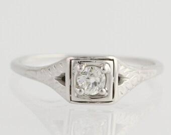 Art Deco Diamond Solitaire Engagement Ring - 18k White Gold Genuine .19ctw L6792
