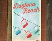 Daytona Beach, Florida - 12 x 18 Retro Travel Print