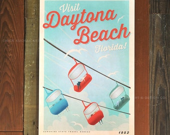 Daytona Beach, Florida - 12 x 18 Retro Travel Print