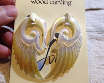 """Hand carved """"Ear Plug"""" styled Gothic earrings"""