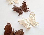 Paper Butterfliies, Brown and Cream Butterflies, Wedding Decorations, Butterflies for Scrapbooking, Butterfly Die Cuts, Free Shipping