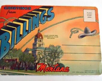 Souvenir Folded Postcard Billings Montana Postcards 1940's
