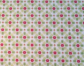 Fabric by the Yard- Christmas Kitsch- Starburst in White- Anna Griffin