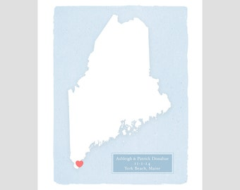 MAINE - Personalized print - Family History - Custom text - Wedding gift Bridal shower gift Housewarming gift  Larger for wedding guest book