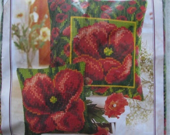 Vervaco Floral/Poppy Needlepoint/Tapestry Kit Easy