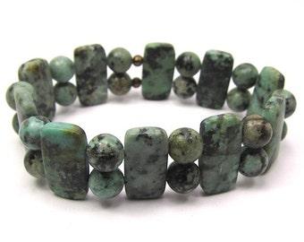 Matte African Turquoise Stretch Bracelet, Turquoise Gemstone Beaded Bracelet
