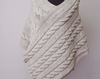 Knitted poncho  cabled poncho  cable pattern   Plus size  Chunky knit poncho, silver grey